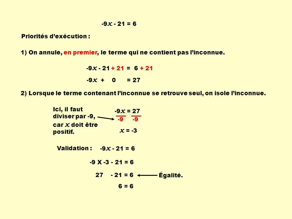 -9 x - 21 = 6 Priorités dexécution : -9 x + 0 = 27 -9 x = 27 -9 x = -3 Validation : -9 X -3 - 21 = 6 Égalité. -9 x - 21 = 6 + 21 Ici, il faut diviser