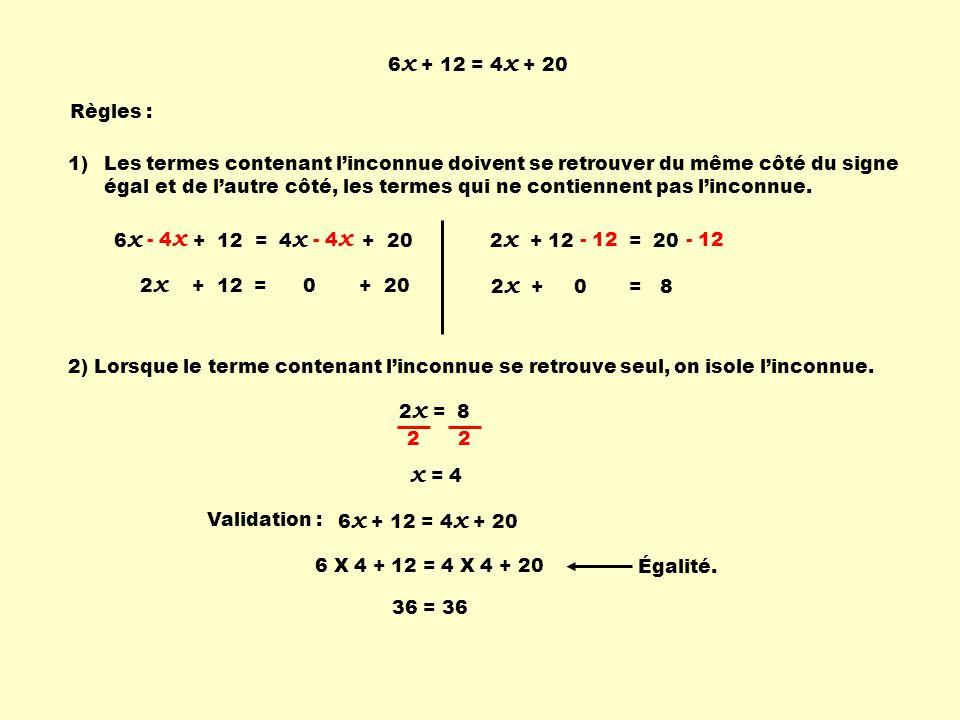 1)Les termes contenant linconnue doivent se retrouver du même côté du signe égal 2 x + 12 = 20 6 x + 12 = 4 x + 20 Règles : 2 x + 0 = 8 2) Lorsque le terme contenant linconnue se retrouve seul, on isole linconnue.