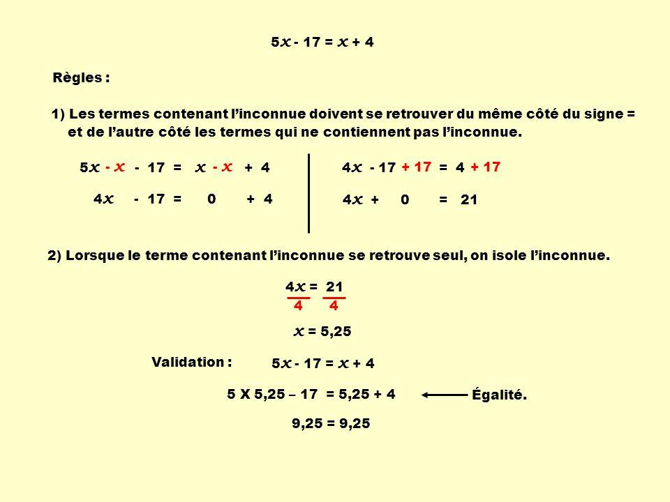 5 x - 17 = x + 4 2) Lorsque le terme contenant linconnue se retrouve seul, on isole linconnue. 4 x = 21 4 4 x = 5,25 Validation : 5 X 5,25 – 17 = 5,25