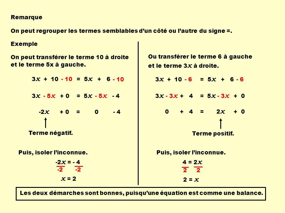 3 x + 10 = 5 x + 6 3 x + 0 = 5 x - 4 - 10 - 5 x -2 x + 0 = 0 - 4 Remarque On peut regrouper les termes semblables dun côté ou lautre du signe =. Ou tr