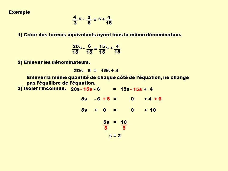 1) Créer des termes équivalents ayant tous le même dénominateur. 2) Enlever les dénominateurs. Exemple 4 3 s - 2 5 = s + 4 15 20s - 6 = 15s + 4 3) Iso