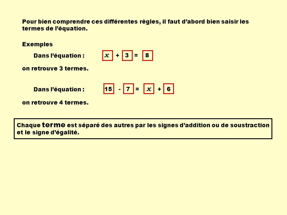 Pour bien comprendre ces différentes règles, il faut dabord bien saisir les termes de léquation. Exemples Dans léquation : x + 3 = 8 on retrouve 3 ter