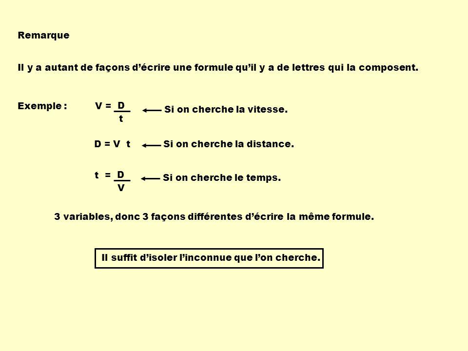 Remarque Il y a autant de façons décrire une formule quil y a de lettres qui la composent. Exemple : V D t = D = V t Si on cherche la vitesse. Si on c