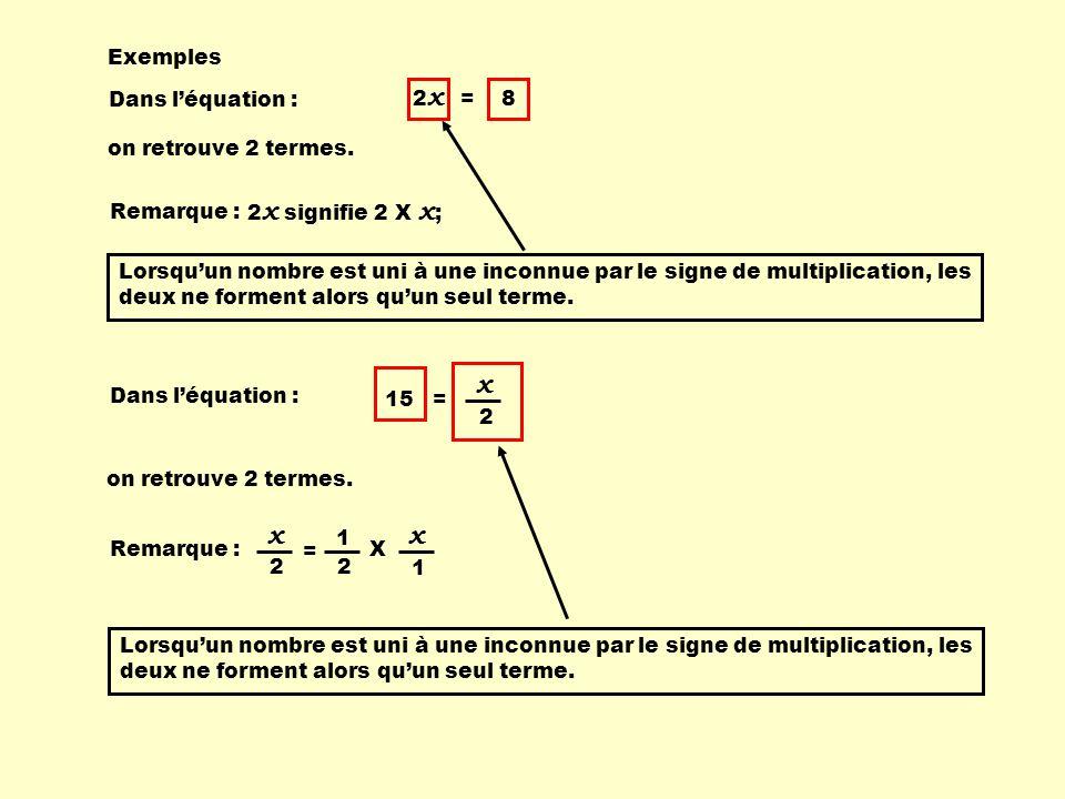 Exemples Dans léquation : 2 x = 8 on retrouve 2 termes. Dans léquation : on retrouve 2 termes. 15 = 2 x Remarque : 2 x signifie 2 X x ; Lorsquun nombr