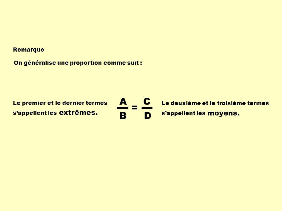 A B C D = On généralise une proportion comme suit : Remarque Le premier et le dernier termes sappellent les Le deuxième et le troisième termes sappell