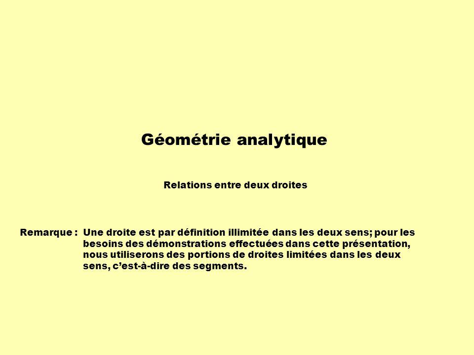 Géométrie analytique Relations entre deux droites Remarque : Une droite est par définition illimitée dans les deux sens; pour les besoins des démonstrations effectuées dans cette présentation, nous utiliserons des portions de droites limitées dans les deux sens, cest-à-dire des segments.
