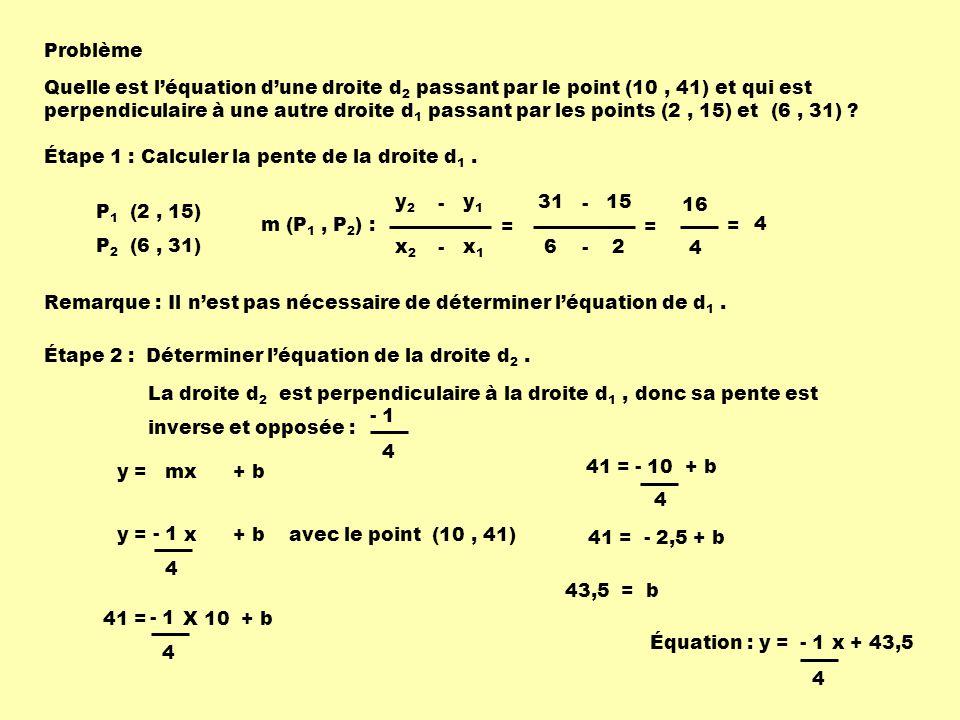 Problème Quelle est léquation dune droite d 2 passant par le point (10, 41) et qui est perpendiculaire à une autre droite d 1 passant par les points (2, 15) et (6, 31) .