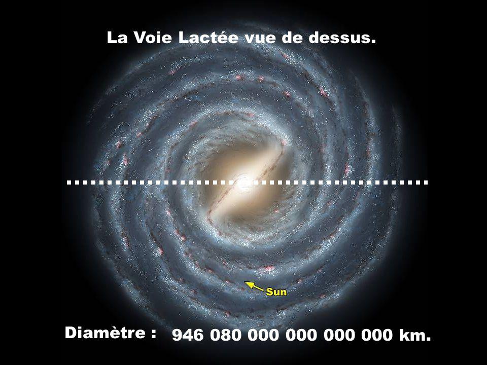 La Voie Lactée vue de dessus. Diamètre : 946 080 000 000 000 000 km.
