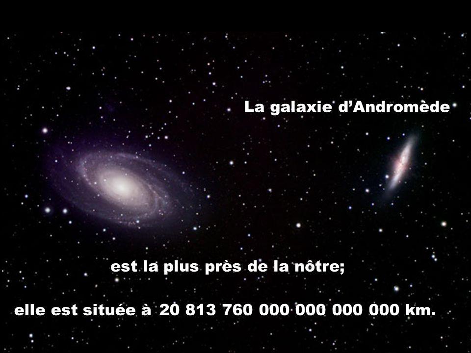 La galaxie dAndromède est la plus près de la nôtre; elle est située à 20 813 760 000 000 000 000 km.