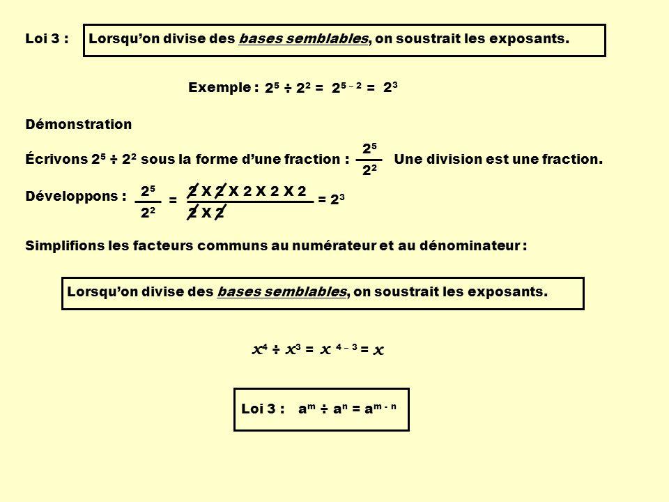 x 4 ÷ x 3 = Loi 3 :Lorsquon divise des bases semblables, on soustrait les exposants.