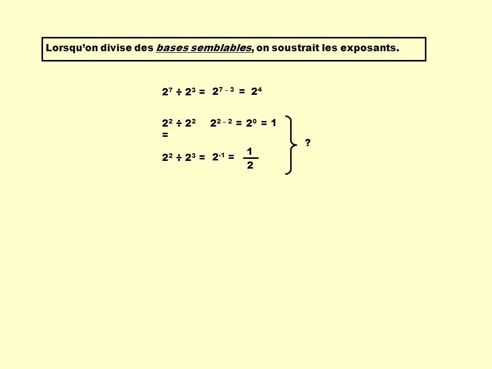 2 2 ÷ 2 2 = 2 2 – 2 =2 0 = 1 2 2 ÷ 2 3 = 1 2 2 -1 = ? Lorsquon divise des bases semblables, on soustrait les exposants. 2 7 ÷ 2 3 = 2 7 – 3 =2424