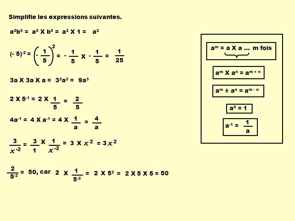 Simplifie les expressions suivantes. a m X a n = a m + n a m ÷ a n = a m - n a -1 = a 1 a m = a X a …m fois a 0 = 1 a 2 b 0 =a 2 X b 0 =a 2 X 1 =a2a2