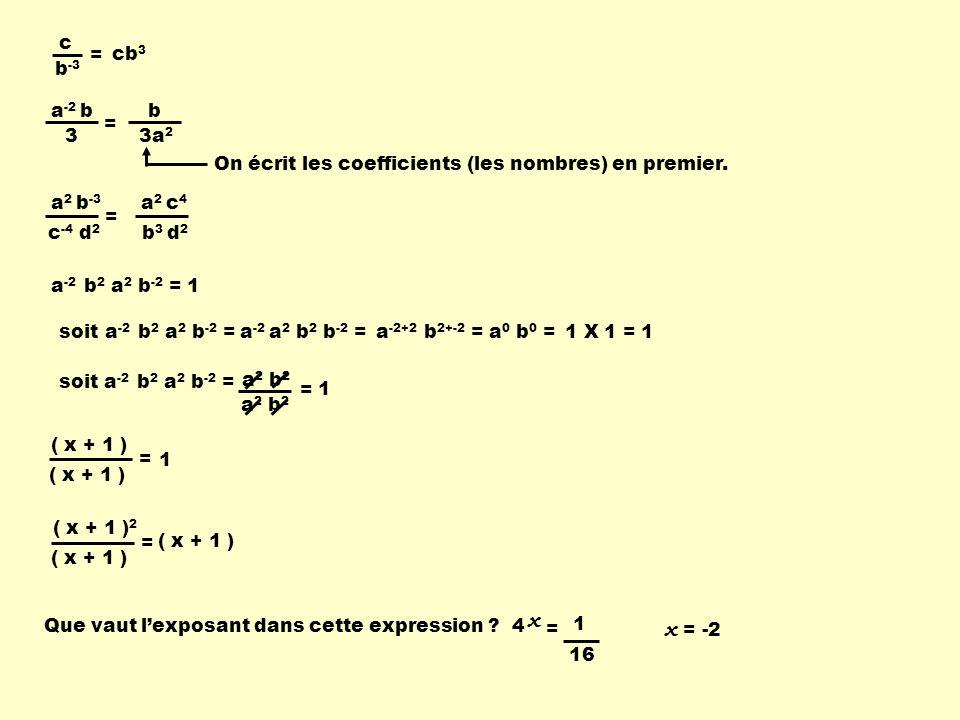 c b -3 = cb 3 a -2 b 3 = b 3a 2 a 2 b -3 c -4 d 2 = a 2 c 4 b 3 d 2 a -2 b 2 a 2 b -2 =1 soita -2 a 2 b 2 b -2 =a -2+2 b 2+-2 =a 0 b 0 =1 X 1 =1 soit a -2 b 2 a 2 b -2 = a 2 b 2 = 1 ( x + 1 ) = 1 ( x + 1 ) 2 ( x + 1 ) = Que vaut lexposant dans cette expression ?4 x = 1 16 x = -2 On écrit les coefficients (les nombres) en premier.
