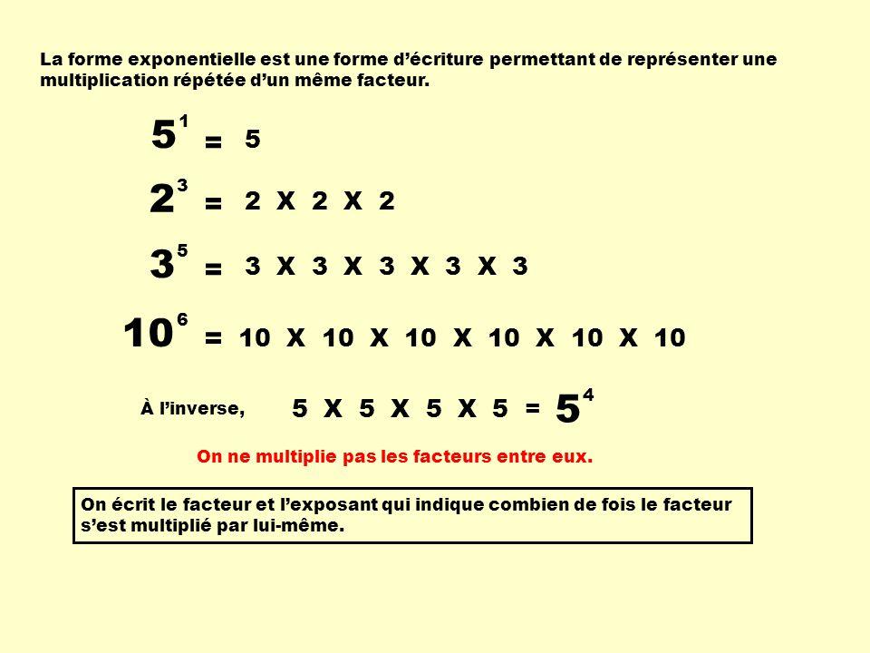 La forme exponentielle est une forme décriture permettant de représenter une multiplication répétée dun même facteur. 2 3 = 2 X 2 X 2 3 5 = 3 X 3 X 3
