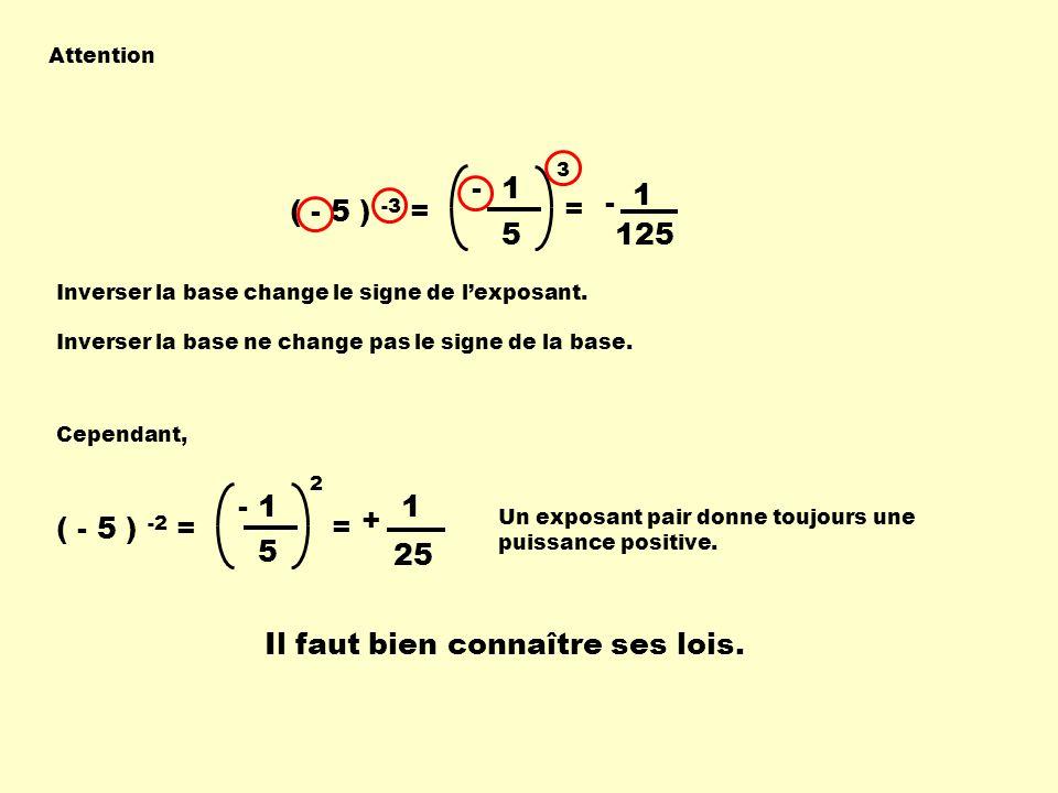 - 5 3 = 1 ( - 5 ) -3 = 1 - 125 Attention Inverser la base change le signe de lexposant. Inverser la base ne change pas le signe de la base. ( - 5 ) -2