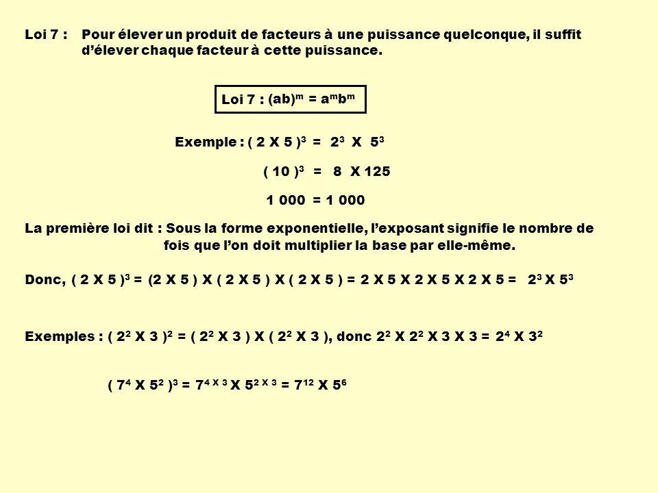 Loi 7 :Pour élever un produit de facteurs à une puissance quelconque, il suffit délever chaque facteur à cette puissance. Exemple : ( 2 2 X 3 ) 2 = La
