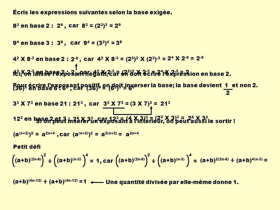Si on peut insérer un exposant à lintérieur, on peut aussi le sortir ! Écris les expressions suivantes selon la base exigée. 8 3 en base 2 :2 9, car 8