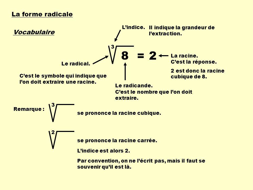 La forme radicale Vocabulaire Le radical. Cest le symbole qui indique que lon doit extraire une racine. Lindice. Le radicande. Il indique la grandeur