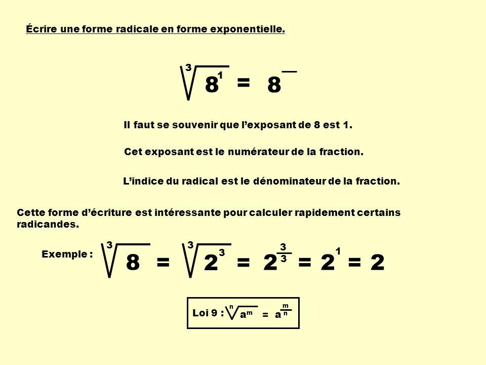 Écrire une forme radicale en forme exponentielle. 8 3 Il faut se souvenir que lexposant de 8 est 1. 1 Cet exposant est le numérateur de la fraction. L