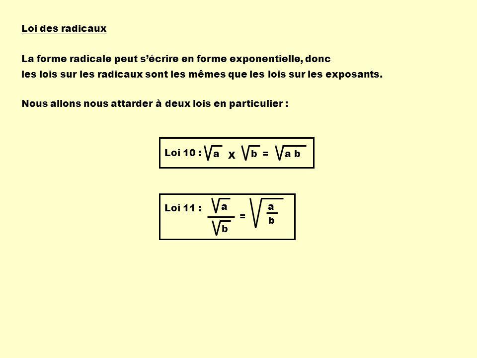 Loi des radicaux La forme radicale peut sécrire en forme exponentielle, donc les lois sur les radicaux sont les mêmes que les lois sur les exposants.
