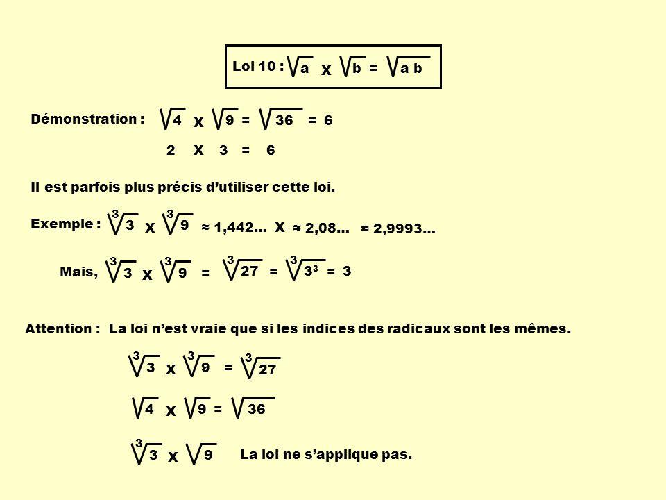 Loi 10 : a X b = a b Démonstration : 4 X 9 = 36 2X3=6 =6 Il est parfois plus précis dutiliser cette loi. Exemple : 3 X 33 9 1,442… X 2,08… 2,9993… 3 3