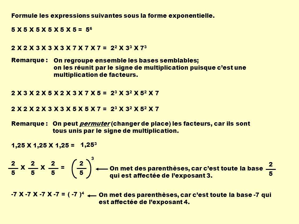 Formule les expressions suivantes sous la forme exponentielle. 5 X 5 X 5 X 5 X 5 X 5 =5656 2 X 2 X 3 X 3 X 3 X 7 X 7 X 7 = 2 2 X 3 3 X 7 3 Remarque :