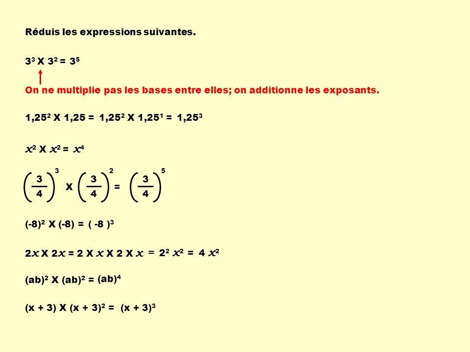 Réduis les expressions suivantes. 3 3 X 3 2 =3535 x 2 X x 2 = x4x4 2 x X 2 x =2 X x X 2 X x = 2 2 x 2 = 4 x 2 On ne multiplie pas les bases entre elle