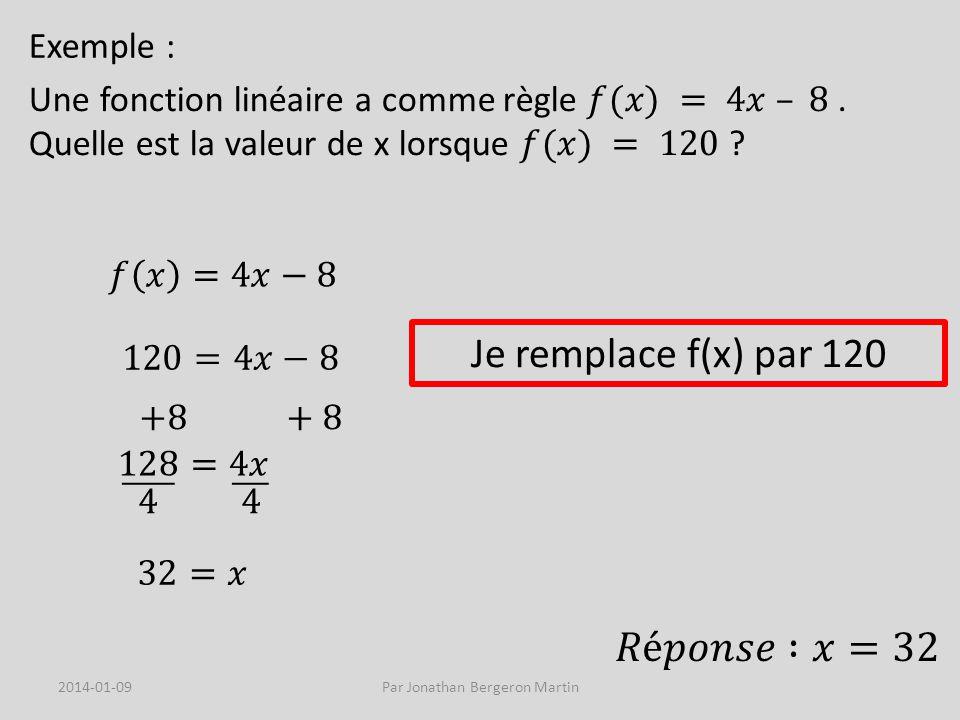 Exemple : Je remplace f(x) par 120 2014-01-09Par Jonathan Bergeron Martin