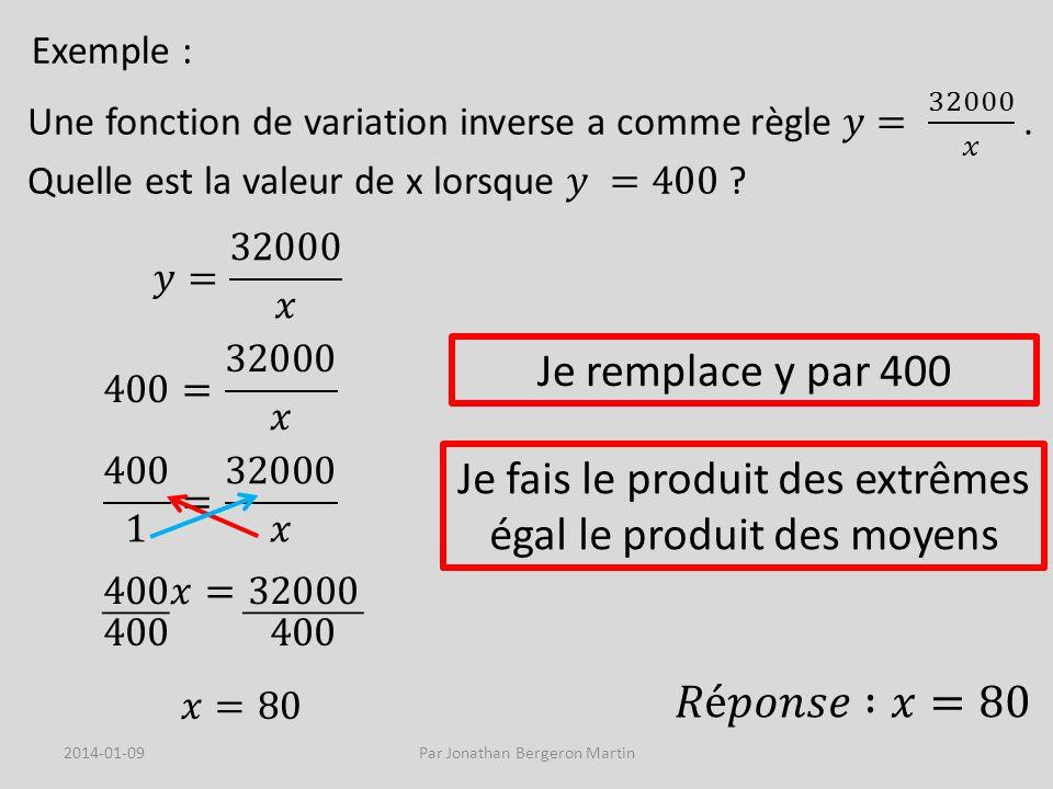 Exemple : Je remplace y par 400 Je fais le produit des extrêmes égal le produit des moyens 2014-01-09Par Jonathan Bergeron Martin