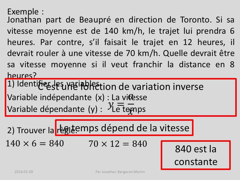 Exemple : Jonathan part de Beaupré en direction de Toronto.
