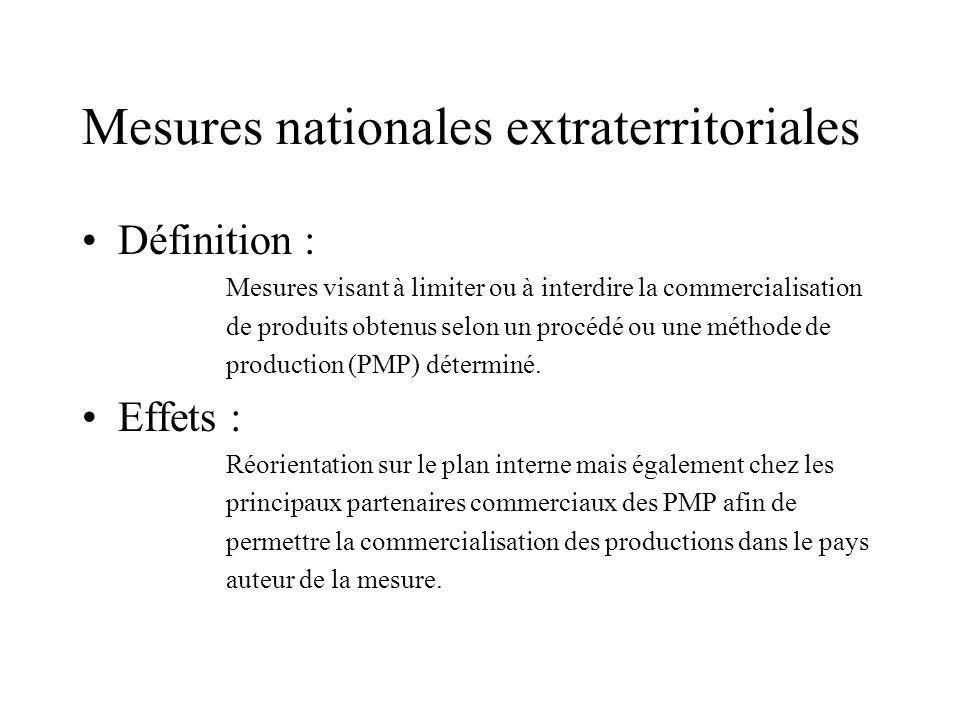 Mesures nationales extraterritoriales Définition : Mesures visant à limiter ou à interdire la commercialisation de produits obtenus selon un procédé ou une méthode de production (PMP) déterminé.
