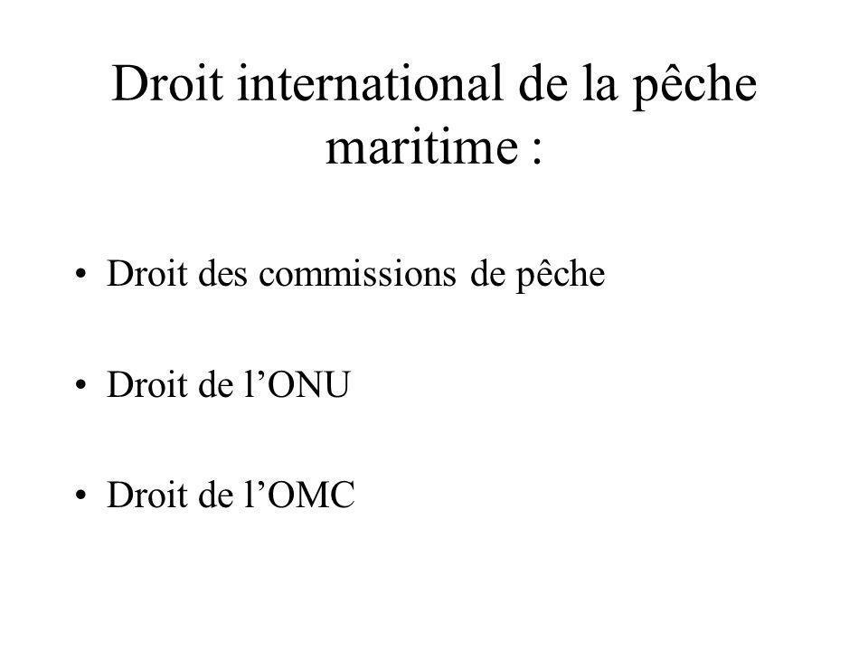 Droit international de la pêche maritime : Droit des commissions de pêche Droit de lONU Droit de lOMC