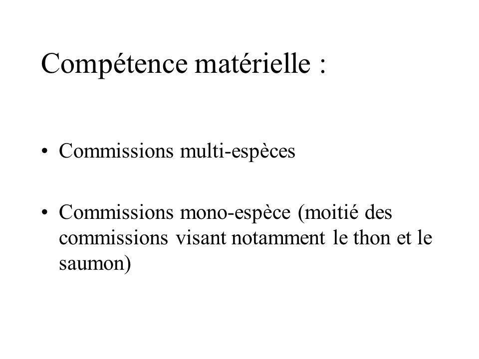 Compétence matérielle : Commissions multi-espèces Commissions mono-espèce (moitié des commissions visant notamment le thon et le saumon)