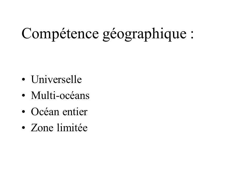 Compétence géographique : Universelle Multi-océans Océan entier Zone limitée