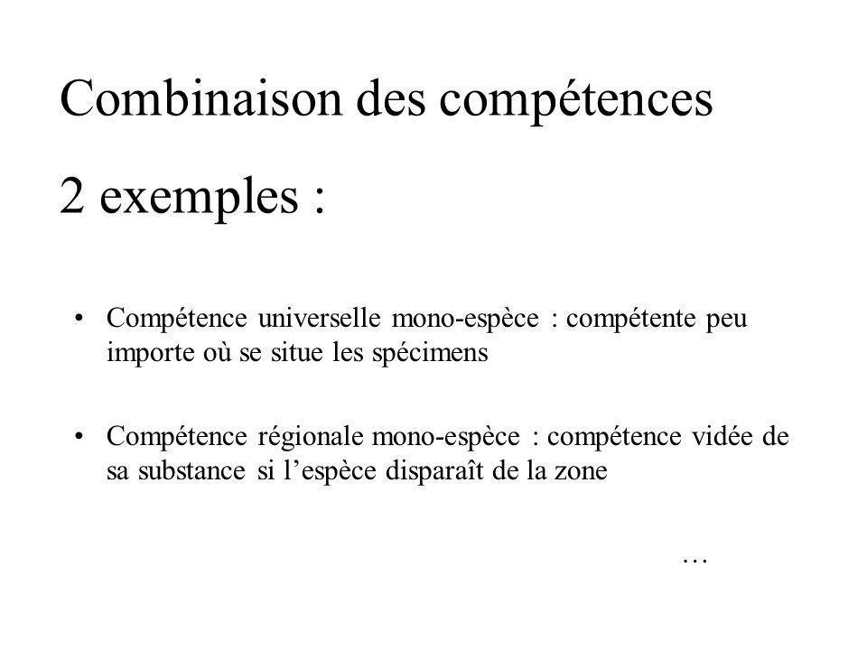 Combinaison des compétences 2 exemples : Compétence universelle mono-espèce : compétente peu importe où se situe les spécimens Compétence régionale mono-espèce : compétence vidée de sa substance si lespèce disparaît de la zone …