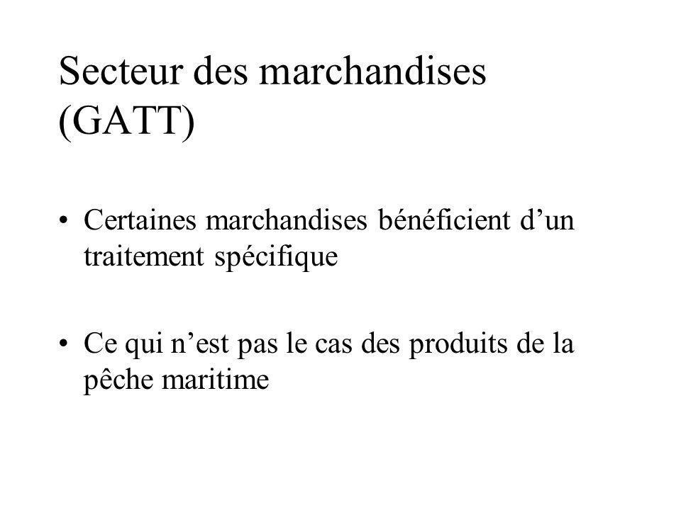 Secteur des marchandises (GATT) Certaines marchandises bénéficient dun traitement spécifique Ce qui nest pas le cas des produits de la pêche maritime