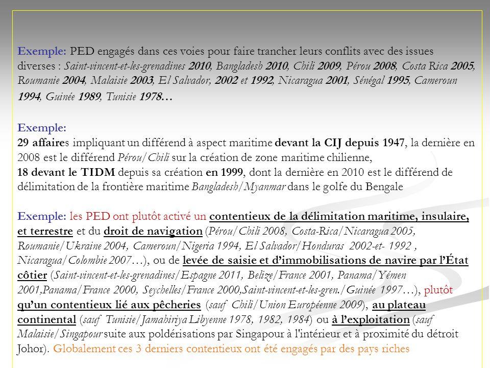 Les changements: Les PED, distancés aujourd hui par les Etats maritimes Les Etats maritimes, rapprochés par de nouveaux caractères (géographiques, filières dactivités…) et de nouveaux objectifs (environnement ou halieutique) paraissent davantage capables dinfluer -dans les enceintes de production du droit- sur la gouvernance des espaces et ressources, et de la faire évoluer La gestion du risque lié aux conséquences -sur les hommes -du changement climatique (submersion, famine, appauvrissement etc.), bien quaffectant plus les pays pauvres que les pays développés, ne change pas la donne de ces influences sur la gouvernance juridique effective… pour le moment….