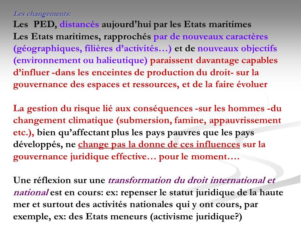 Les changements: Les PED, distancés aujourd'hui par les Etats maritimes Les Etats maritimes, rapprochés par de nouveaux caractères (géographiques, fil