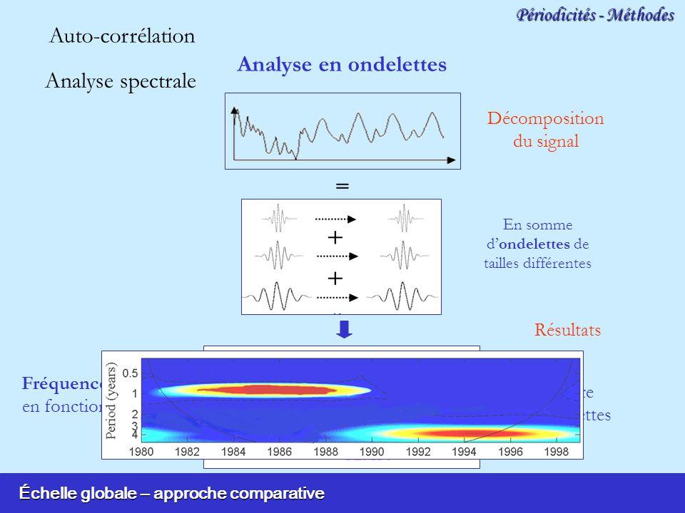 Échelle globale – approche comparative Périodicités - Méthodes Décomposition du signal Résultats = En somme dondelettes de tailles différentes Fréquences détectées en fonction du temps Analyse en ondelettes Analyse spectrale Auto-corrélation Spectre dondelettes