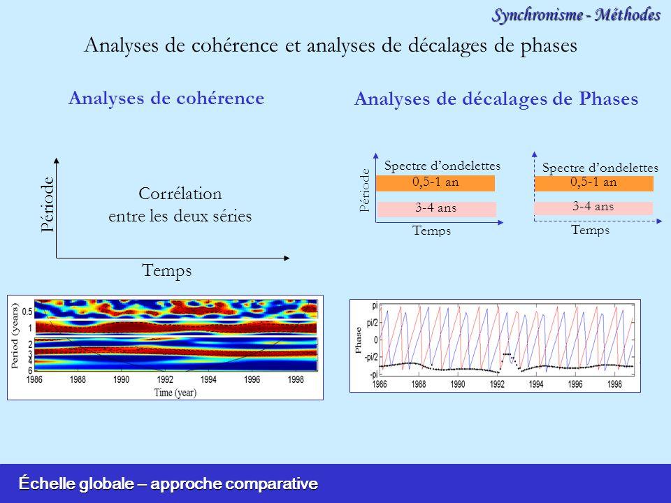 Échelle globale – approche comparative Synchronisme - Méthodes Analyses de cohérence et analyses de décalages de phases Analyses de cohérence Temps Période 0,5-1 an Analyses de décalages de Phases Temps Période Spectre dondelettes Temps Spectre dondelettes Temps Phase 3-4 ans Corrélation entre les deux séries
