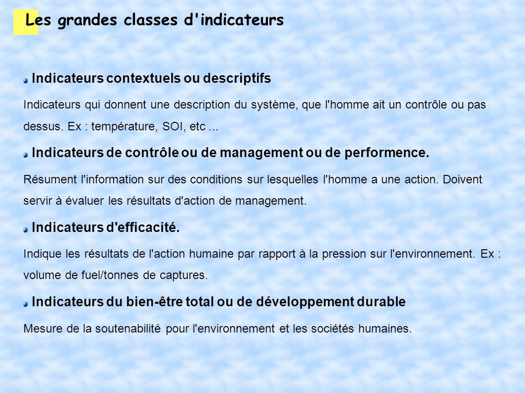 Les grandes classes d'indicateurs Indicateurs contextuels ou descriptifs Indicateurs qui donnent une description du système, que l'homme ait un contrô