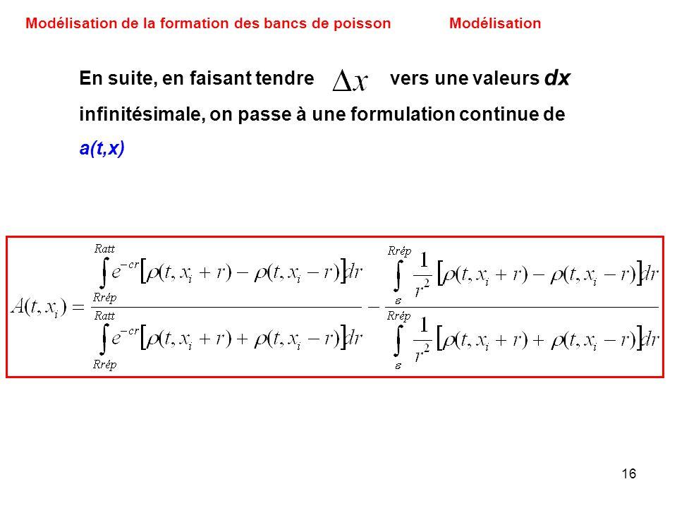 16 Modélisation de la formation des bancs de poissonModélisation En suite, en faisant tendre vers une valeurs dx infinitésimale, on passe à une formul