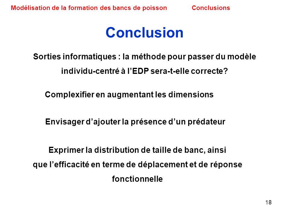 18 Modélisation de la formation des bancs de poissonConclusions Conclusion Sorties informatiques : la méthode pour passer du modèle individu-centré à
