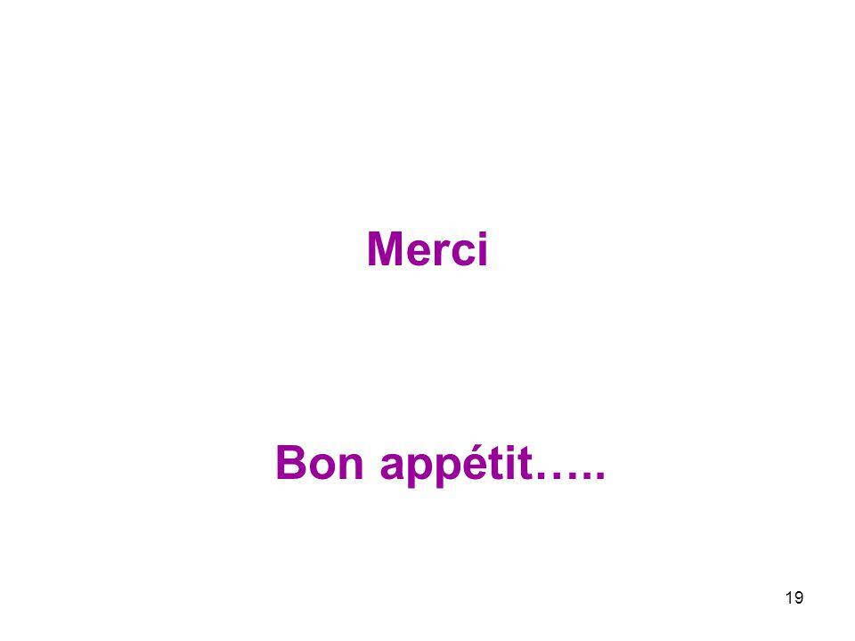 19 Merci Bon appétit…..