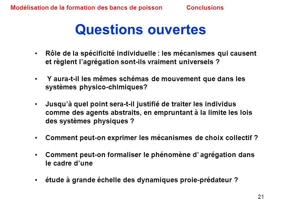 21 Modélisation de la formation des bancs de poissonConclusions Questions ouvertes Rôle de la spécificité individuelle : les mécanismes qui causent et