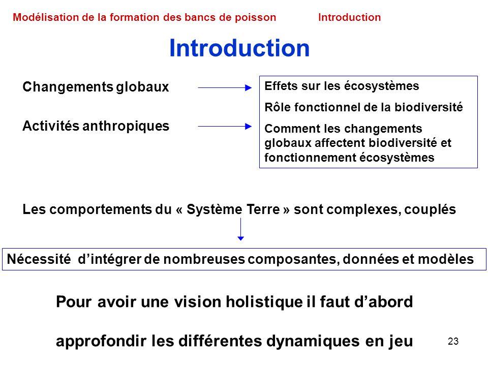 23 Modélisation de la formation des bancs de poissonIntroduction Pour avoir une vision holistique il faut dabord approfondir les différentes dynamique