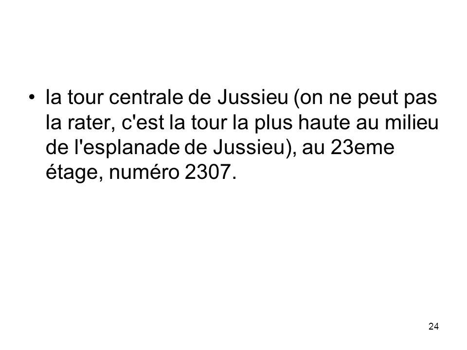 24 la tour centrale de Jussieu (on ne peut pas la rater, c'est la tour la plus haute au milieu de l'esplanade de Jussieu), au 23eme étage, numéro 2307