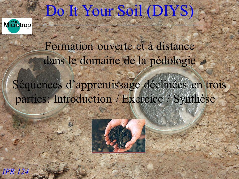 IFR 124 Do It Your Soil (DIYS) Formation ouverte et à distance dans le domaine de la pédologie Séquences dapprentissage déclinées en trois parties: Introduction / Exercice / Synthèse