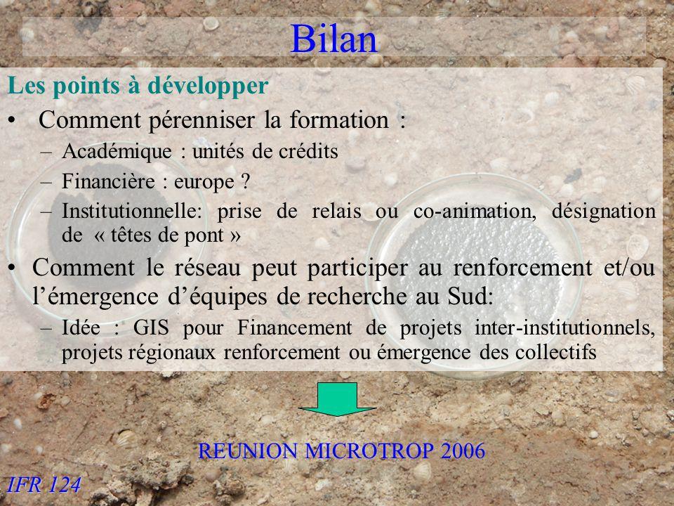 IFR 124 Bilan Les points à développer Comment pérenniser la formation : –Académique : unités de crédits –Financière : europe .