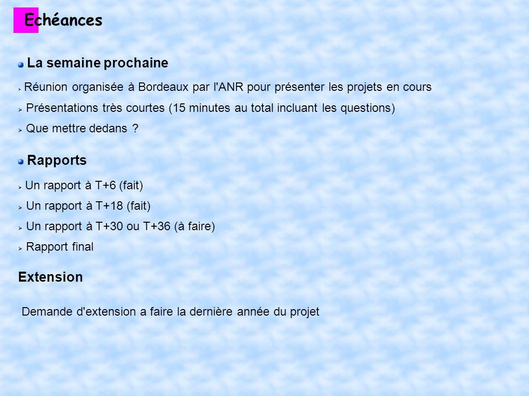 Echéances La semaine prochaine Réunion organisée à Bordeaux par l ANR pour présenter les projets en cours Présentations très courtes (15 minutes au total incluant les questions) Que mettre dedans .